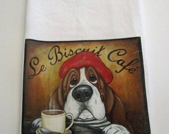 """Basset Hound Flour Sack/Tea Towel - """"Le Biscuit Cafe"""""""