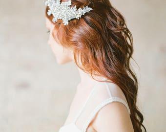 Wedding Hair Comb, Crystal Headpiece, Bridal Headpiece, Crystal Hair Comb, Bridal Hair Comb, Lace Headpiece, Floral Hair Comb - Style 330