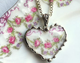Antique French porcelain - broken china jewelry - heart pendant necklace - delicate rose garland - amazingly romantic! - recycled china