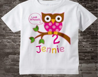 Girl's Owl Birthday Shirt or Onesie, Pink Girls Owl Birthday Shirt Personalized with Child's Name and age tshirt 02022014c