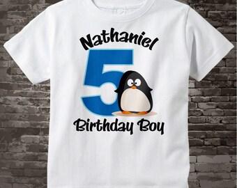 5th Penguin Birthday Shirt, Personalized Fifth Birthday Boy Penguin Theme Tee Shirt 01122012a