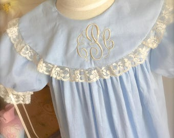 Heirloom Blue Ivory White Picture Panel with Monogrammed Collar Ecru Lace and Pin Tucks Special Occasion Dress