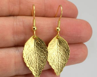 Small Gold Leaf Earrings, Gold Earrings, Gift for Her, Minimalist Jewelry, Gift under 20, Fall Wedding Jewelry