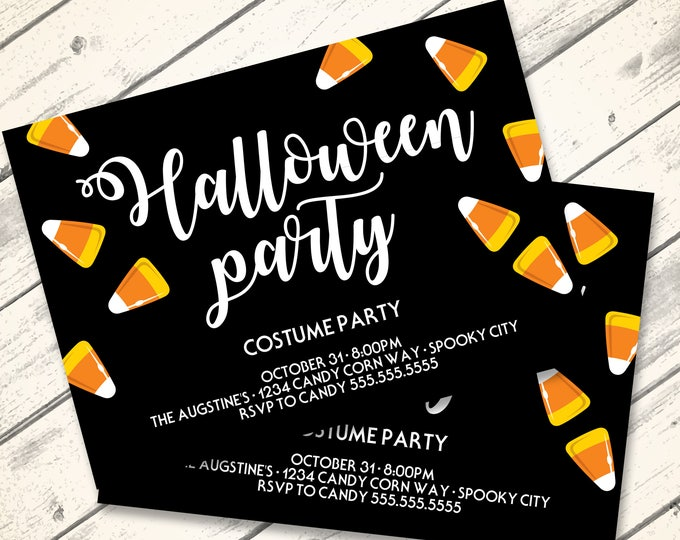 Candy Corn Halloween Party Invitation - Pumpkin Carving Party, Halloween Party, Costume Party | DIY INSTANT Download PDF Printable