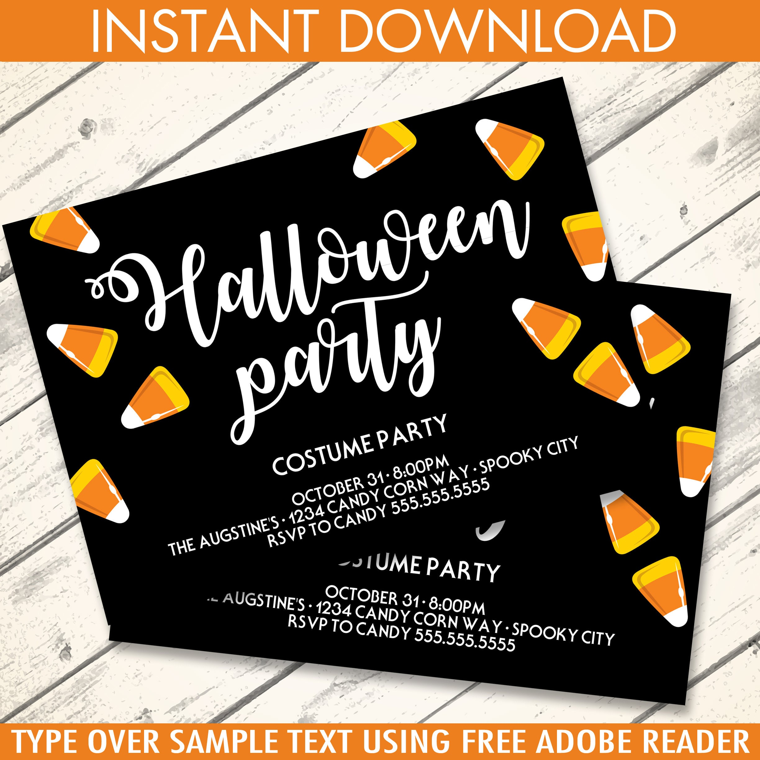 Candy Corn Halloween Party Invitation - Pumpkin Carving Party ...