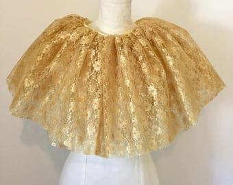 Multi way gold lace neck ruff, cape, bustle, many other colours.