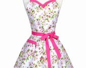 PLUS SIZE Sweetheart Womens Apron - Flirty Pinup Spring Pink Apple Blossom Floral Kitchen Apron to Monogram (DP)