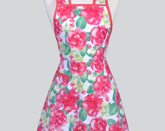50s Style Retro Apron - Summer Love Pink and Jade Floral Womans Vintage Inspired Cute Housewife Kitchen Apron with Pocket