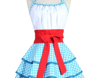Womens Flirty Chic . Dorothy Blue Gingham Cute and Sexy Vintage Pinup Retro Woman Cosplay Kitchen Apron (CS)