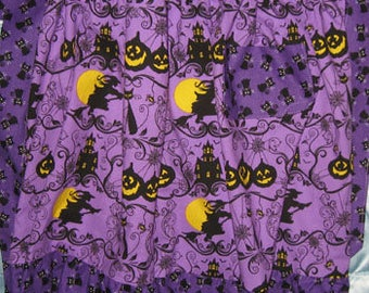 JKW Halloween Purple Black Cats Witch Half APRON with Pocket