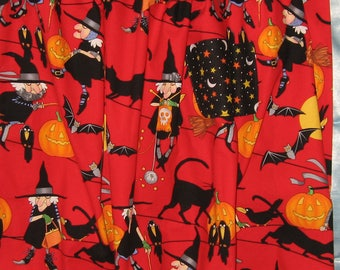 JKW Halloween Knitting WiTcH JOL Black CATs Crows Half APRON with Pocket and Lace Ruffle