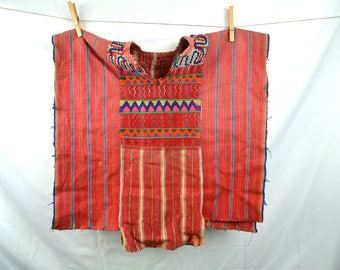 KIDS SIZE - Vintage Woven Guatemalan Ethnic Embroidered Floral Huipil Tunic Top