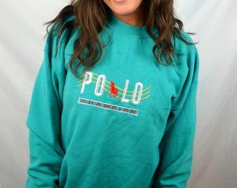 Vintage 80s Polo Champion Embroidered Green Sweatshirt