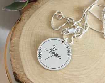 Hope Necklace, Sterling Silver Hope Necklace with wreath, Magnolia Farmhouse style necklace, cursive hope, encouragement, support jewelry