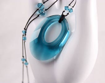 Teal Crystal Necklace, Knotted Silk Cord, Swarovski Helios Indicolite