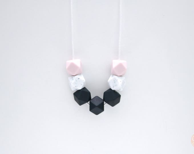 Penny Silicone Beaded Sensory Black and Pink Necklace.