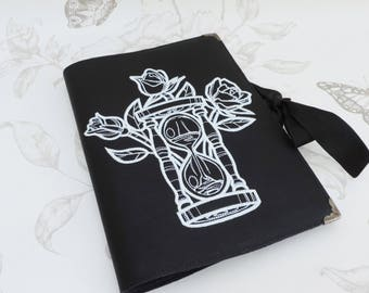 Memento Mori black notebook- Roses hourglass -faux leather- Journal-book - diary- travel-victorian gothic -occult-gothic steampunk