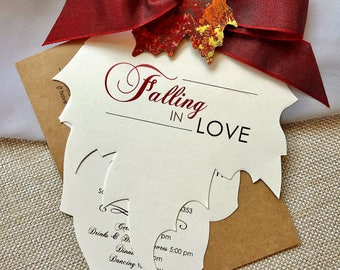 Falling in Love, Fall Wedding Invitations, Autumn Wedding Invitation, Leaf Invitation, Rustic Wedding Invitation, Red Wedding Invitation Set