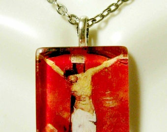 Red cruxifixion pendant with chain - GP02-034
