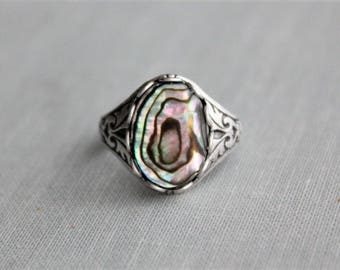 Abalone Ring. Antique Silver or Antique Brass