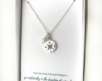 Silver Compass Necklace - World Traveler Necklace - Custom Birthstone Necklace - Wanderlust Necklace - Sterling Silver Everyday Necklace