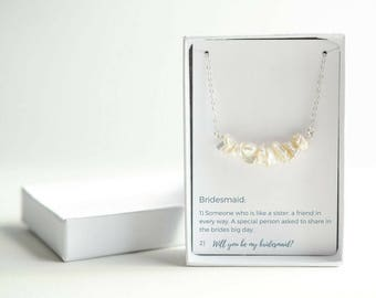 Be My Bridesmaid Gift - Bridesmaid Proposal Jewelry - Personalized Bridesmaid Gift - Sterling Silver White Freshwater Pearl Necklace