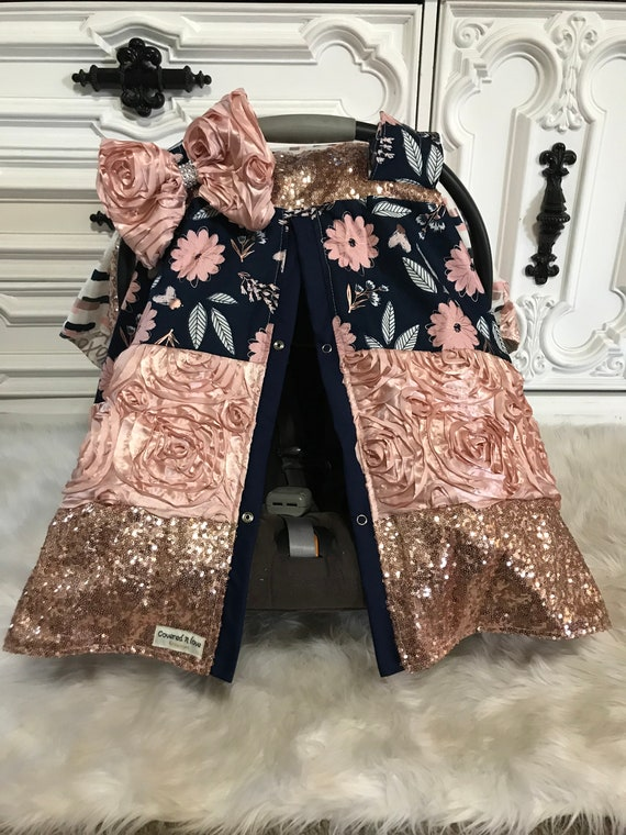 Ready to ship , car seat cover , Stunning custom patch work car seat canopy , Levi and blush floral , jumbo BLING bow included