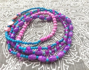 Necklace - Beaded - Purple and Aqua - Colorful and Summery - Long - Boho