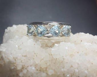 Vintage Blue Topaz Sterling Silver Estate Ring Size 5-3/4 / Faceted Heart Shaped Blue Topaz Wedding Ring Sz 5.75