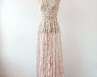 Bohemian separates, lace cover wedding dress, rose gold lace dress, unlined lace dress, bridal separates, lace overdress wedding, lace dress