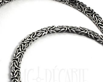 Byzantine chain 4mm flat oval, solid sterling silver chain, bracelet or necklace, 5,5 inches to 40 inches, soldered links, quality chain