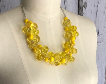 Yellow Chunky Necklace, Statement Necklace, Crystal ACRYLIC, Bridesmaid Necklace, Yellow Wedding Jewelry, Wire Crochet Necklace