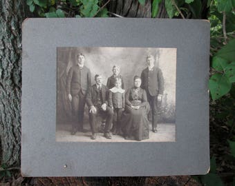 Vintage Black and White Photograph Victorian Family on Gray Mat Board