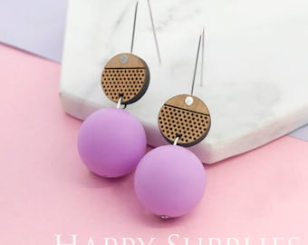 1 Pair (SBW30B) Silicone Balls Laser Cut Geometric Wooden Dangle Earrings - HEW Series - Ocean Sea Summer Beach