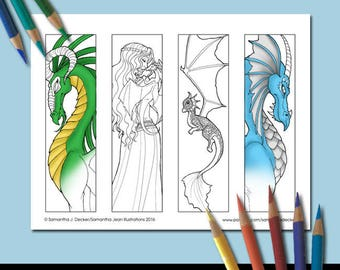 Coloring Bookmarks, Printable Bookmarks, Dragon Coloring Pages, Adult Coloring, Coloring Pictures, Fantasy Coloring Pages, Fantasy Bookmark