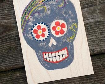 Hand-Painted Wood Greeting Card- gray sugar skull with yellow, orange & navy