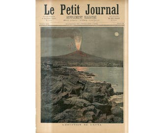 C. 1892 - VOLCANO ERUPTION PRINT - antique print - Eruption of Volcano Mount Etna print - geology print - lava print - Sicily.print