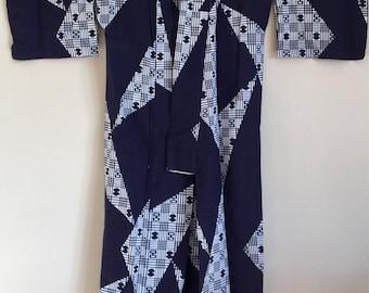 1970s BLUE GEOMETRIC KIMONO Duster Mens kimono Yukata Summer