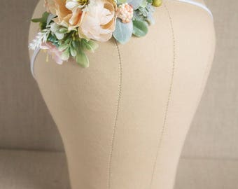 Full Floral Flower Headband - Mint Peach Yellow and White Flowers - Greenery - m2m Well Dressed Wolf Summer Sorbet Lucy