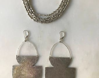 Vasorum Sterling Silver Shield Earrings