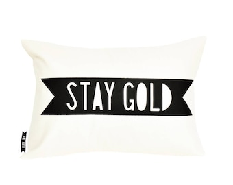 Black and white pillows, stay gold, decorative cushions, accent pillow, pillow covers, decorative pillow covers, cool room decor, fun pillow