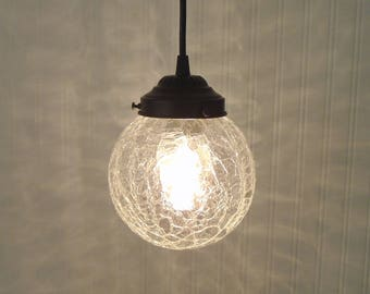 Crackle. Mid-Century Replica Clear PENDANT Light-Chandelier Ceiling Lighting Farmhouse Kitchen Glass Island LampGoods