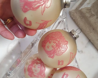 4 Mid Century Glass CHRISTMAS Ornaments Pink Victorian Doll Design