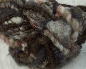 Hand Spun Art Yarn, Hairball, Corespun Singles
