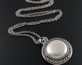 Avon Heirloom Riches Pendant, Long Pendant, Faux Marcasite, Avon Pendant, Silver Pendant, Faux Pearl Pendant