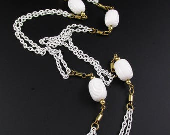 Vendome Enameled Necklace, White Chain Necklace, White Necklace, Long Necklace, Chain Necklace