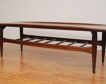 Mid Century Bassett Surfboard Coffee Table Vintage Surf Board Danish Style  MCM Table Nice