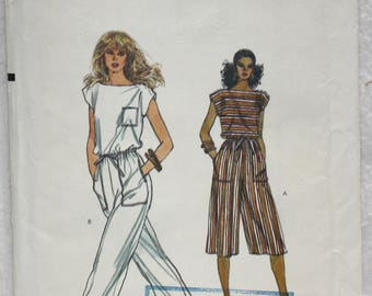 """Size 14 bust 36"""" Vintage Very Easy   Vogue  Sewing Pattern 8355  Wide leg  Jumpsuit in Two Length"""