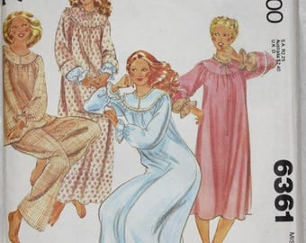 Size Medium (14-16)  Bust 36-38 Waist 28-30 Vintage 70s McCall's  Sewing Pattern 6361 Nightgowns and Pajamas Uncut