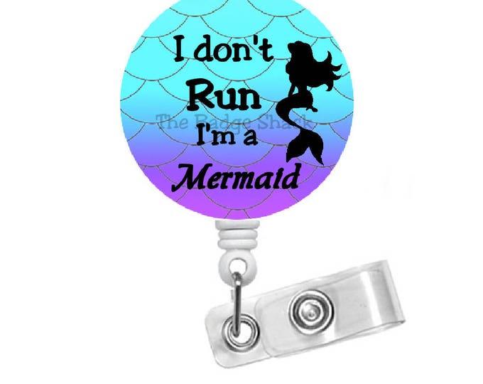 Mermaid Run ID Badge Holder - Badge Reels - Aquatic Badge - RN Nurse Badge - Teacher Badge Reel - Hospital Staff Badge - Vet Badge - Gift